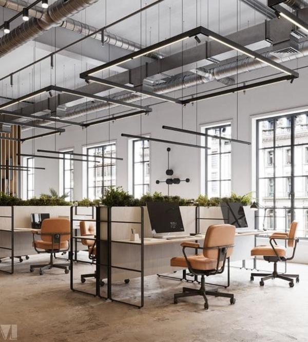 thiết kế không gian làm việc xanh thoáng mát - Crystal Design TPL