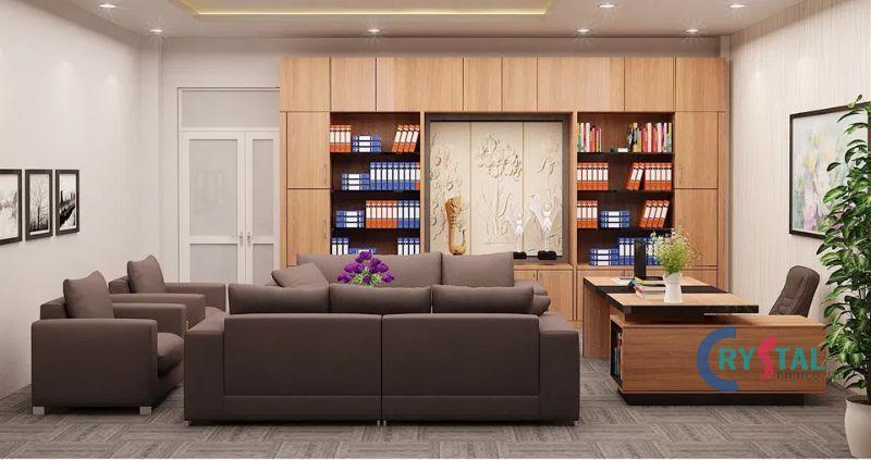 bố trí nội thất phòng làm việc đẹp mắt - Crystal Design TPL