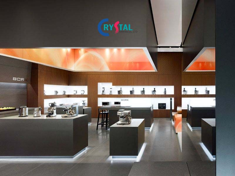 bố trí nội thất showroom - Crystal Design TPL