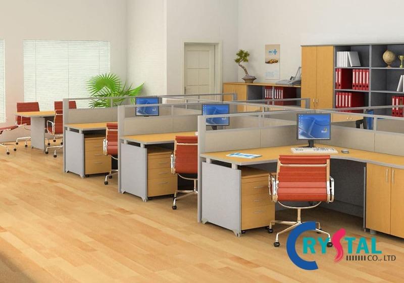 bố trí văn phòng không gian mở - Crystal Design TPL