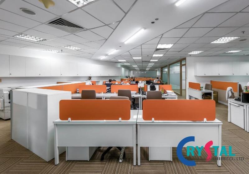 bố trí văn phòng làm việc không gian mở - Crystal Design TPL