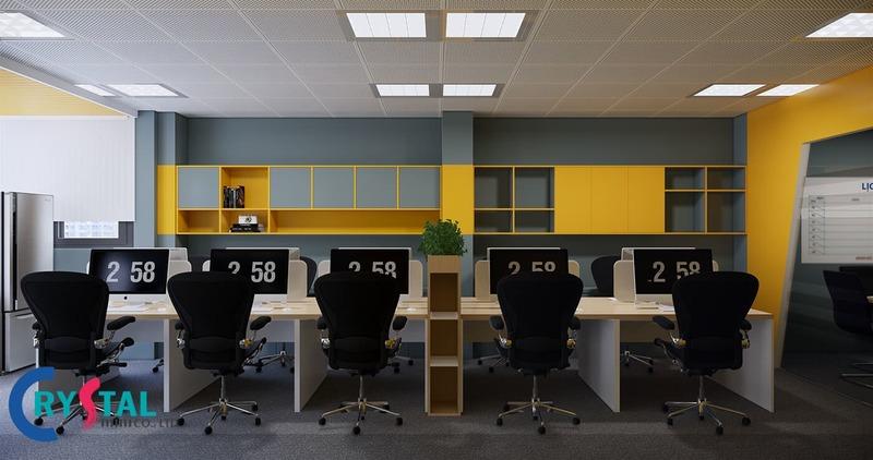 bố trí văn phòng - Crystal Design TPL