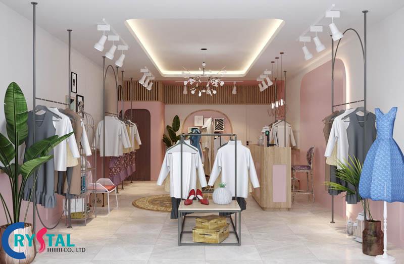 các mẫu thiết kế nội thất shop thời trang - Crystal Design TPL