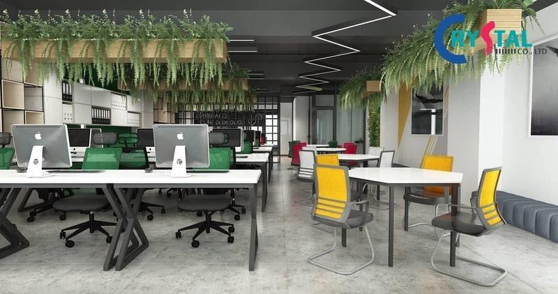 các thiết kế văn phòng cây xanh - Crystal Design TPL