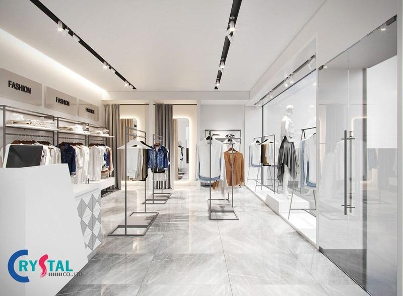 chi phí thiết kế cửa hàng thời trang - Crystal Design TPL