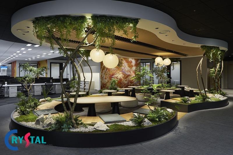 Thiết kế khu vườn xanh mang đến một không gian nổi bật cho văn phòng