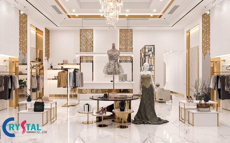 giá thiết kế nội thất shop thời trang - Crystal Design TPL