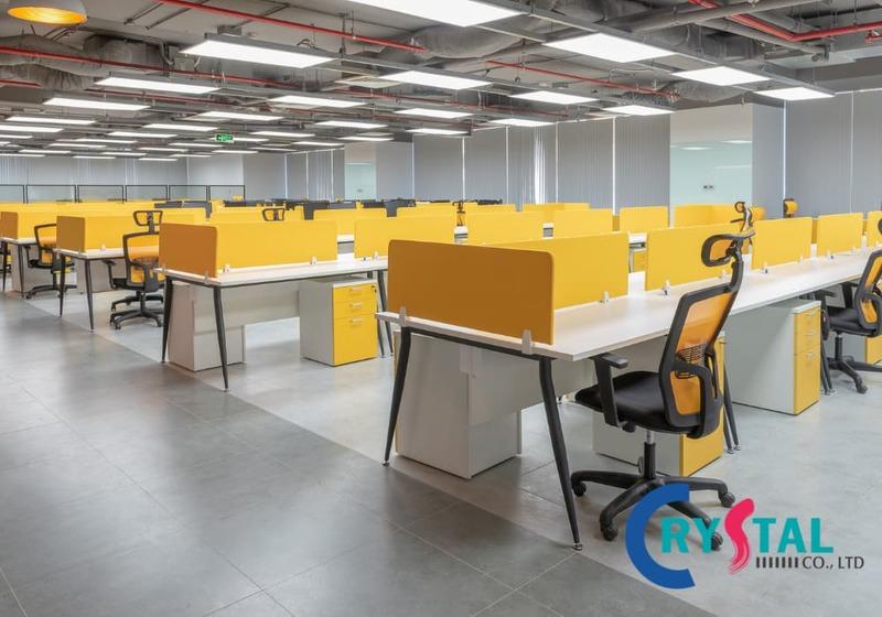 không gian mở văn phòng làm việc - Crystal Design TPL