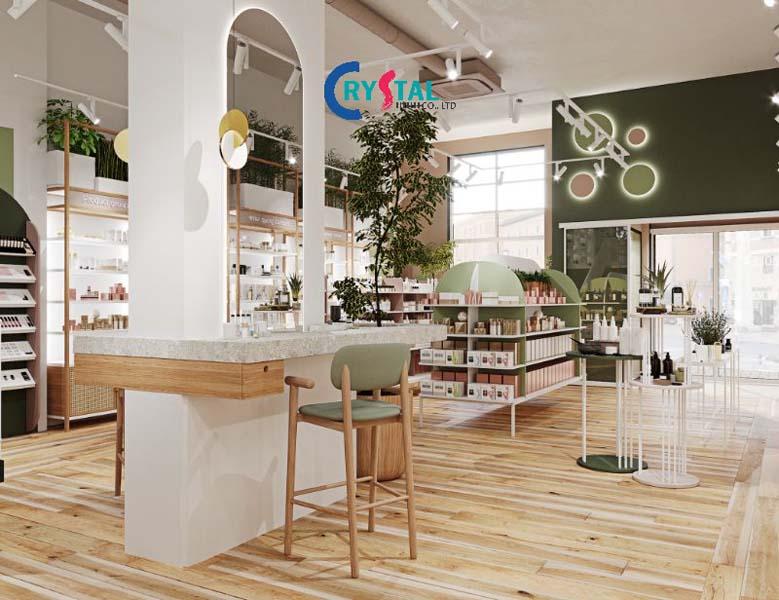 không gian rộng mở và thông thoáng là tiêu chí hàng đầu của thiết kế showroom - Crystal Design TPL