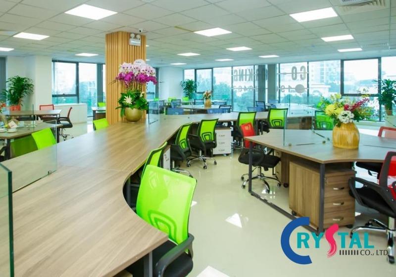không gian văn phòng làm việc mở - Crystal Design TPL