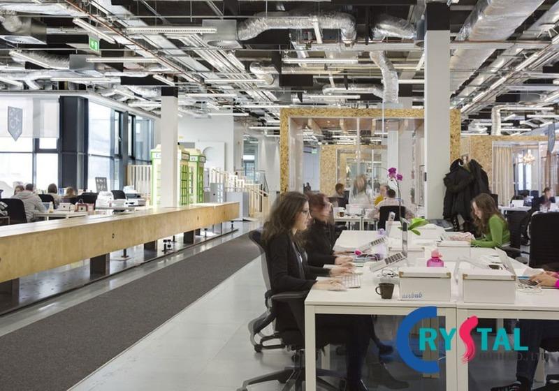không gian văn phòng mở - Crystal Design TPL