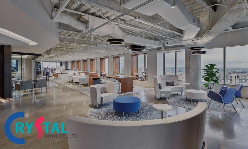mẫu thiết kế văn phòng hiện đại - Crystal Design TPL