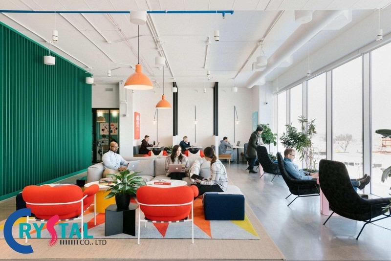 mẫu thiết kế nội thất văn phòng làm việc chuyên nghiệp - Crystal Design TPL