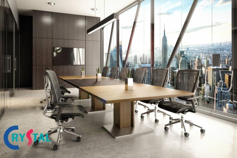 mẫu thiết kế nội thất văn phòng làm việc hiện đại - Crystal Design TPL
