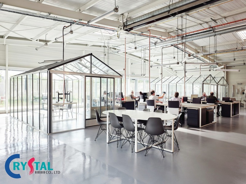 mẫu thiết kế văn phòng hiện đại nổi bật - Crystal Design TPL