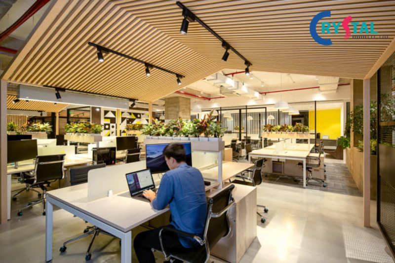 mẫu thiết kế văn phòng xanh đẹp - Crystal Design TPL