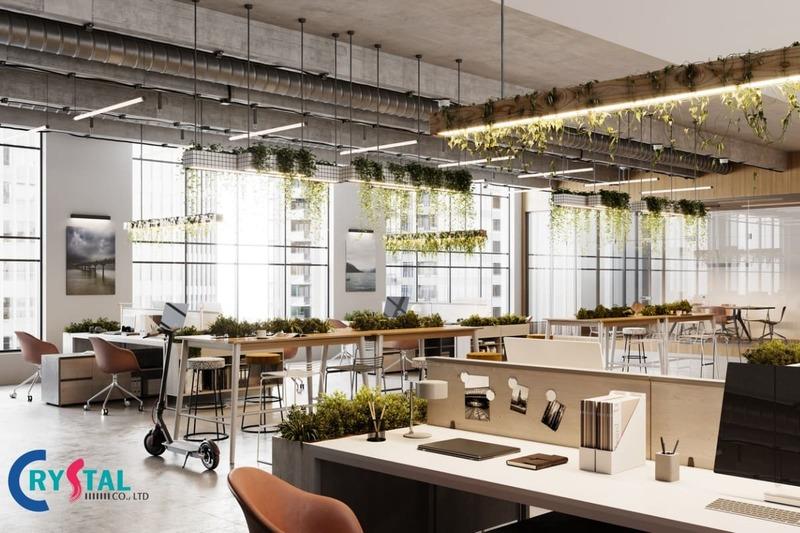 mô hình văn phòng xanh - Crystal Design TPL