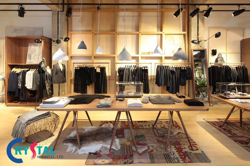 những thiết kế nội thất cửa hàng quần áo - Crystal Design TPL