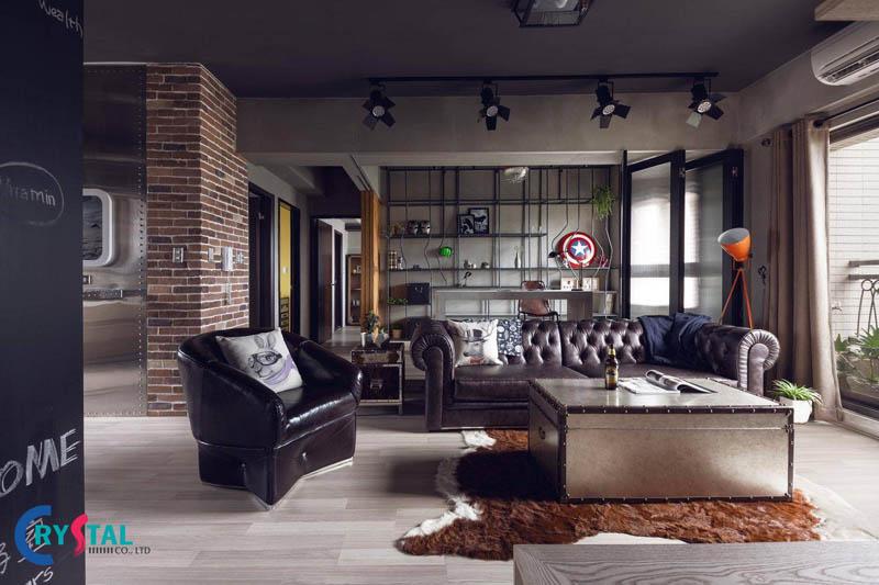 nội thất phong cách industrial hiện đại - Crystal Design TPL