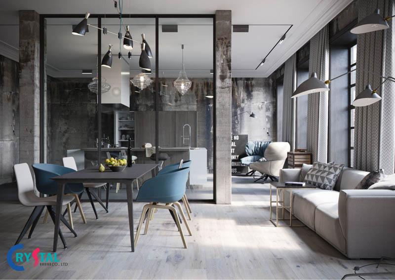 nội thất phong cách industrial - Crystal Design TPL