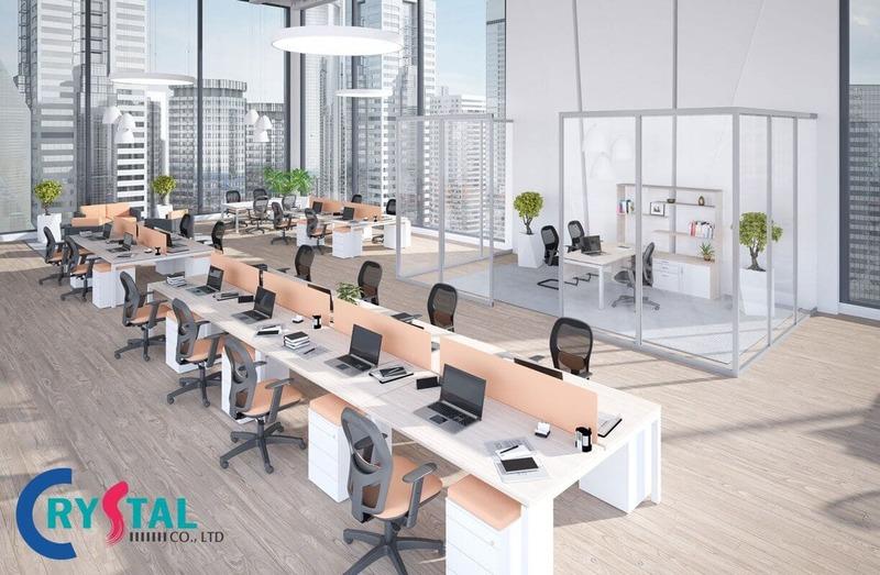 nội thất văn phòng hiện đại đẹp - Crystal Design TPL