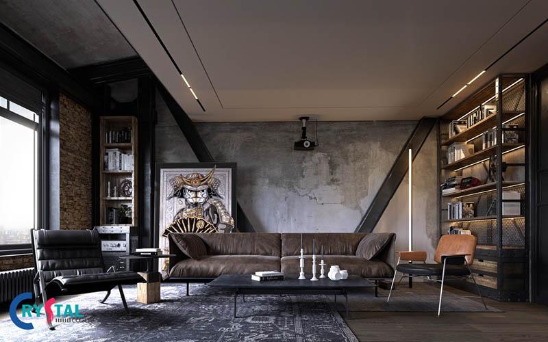 phong cách công nghiệp trong thiết kế nội thất - Crystal Design TPL