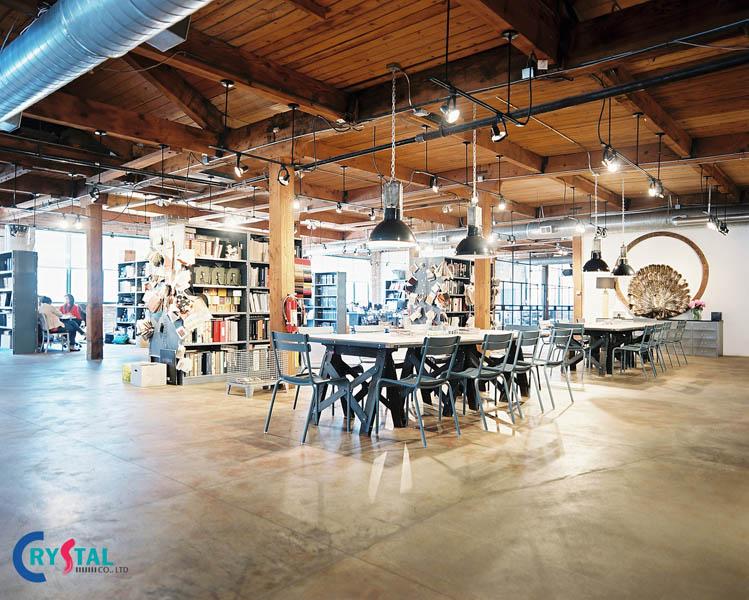 phong cách industrial trong thiết kế nội thất - Crystal Design TPL