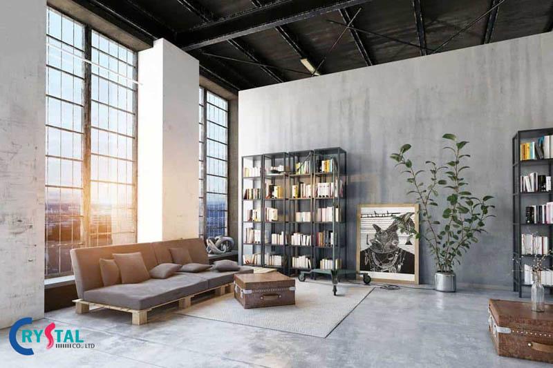 phong cách nội thất industrial - Crystal Design TPL