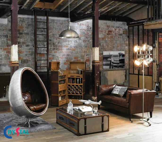 phong cách thiết kế nội thất industrial - Crystal Design TPL