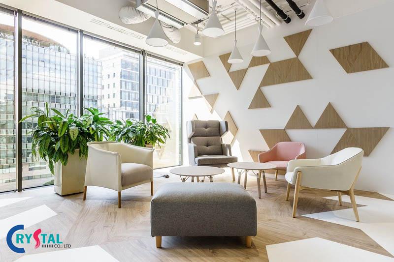 phong cách thiết kế nội thất văn phòng hiện đại - Crystal Design TPL
