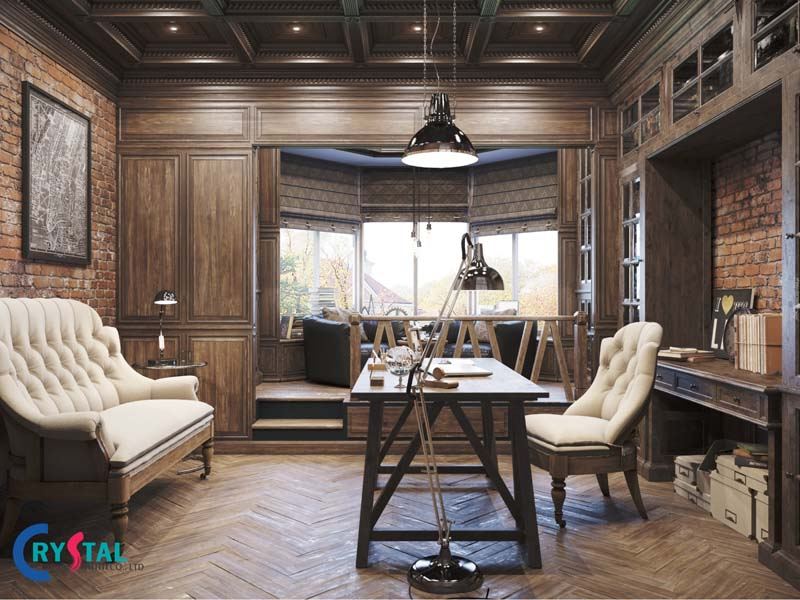 Phòng làm việc được thiết kế theo phong cách Vintage