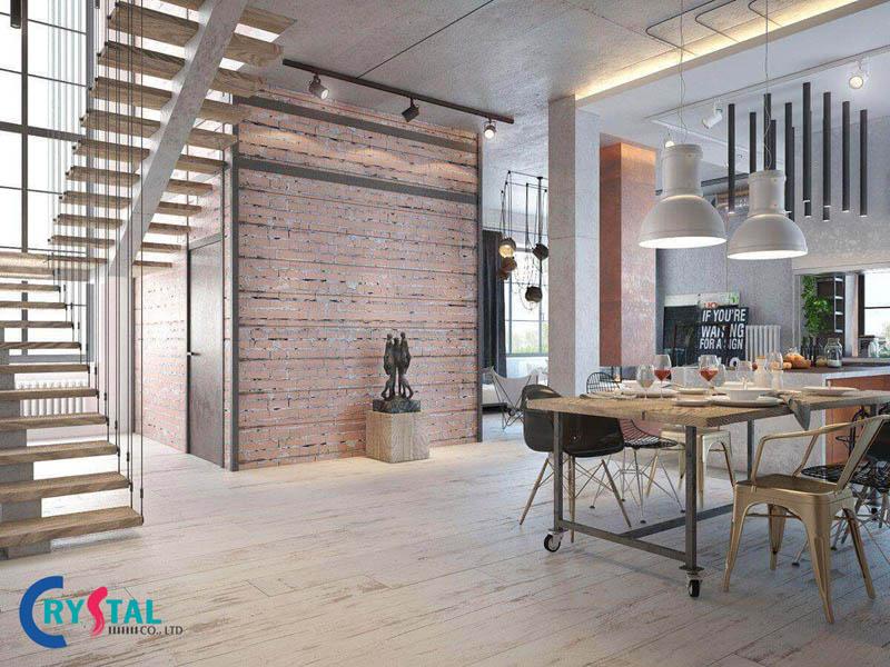 phong cách trang trí industrial - Crystal Design TPL