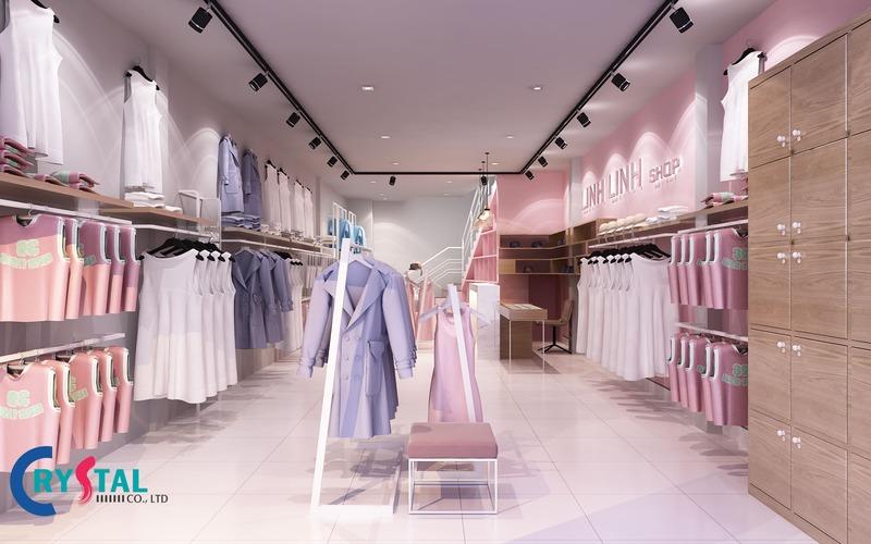 thi công nội thất cửa hàng thời trang - Crystal Design TPL