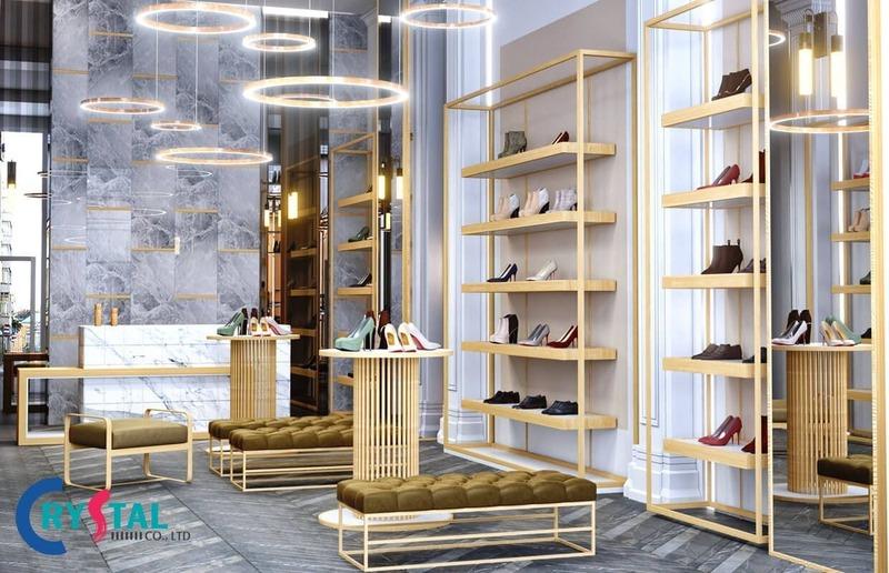 thi công nội thất cửa hàng - Crystal Design TPL