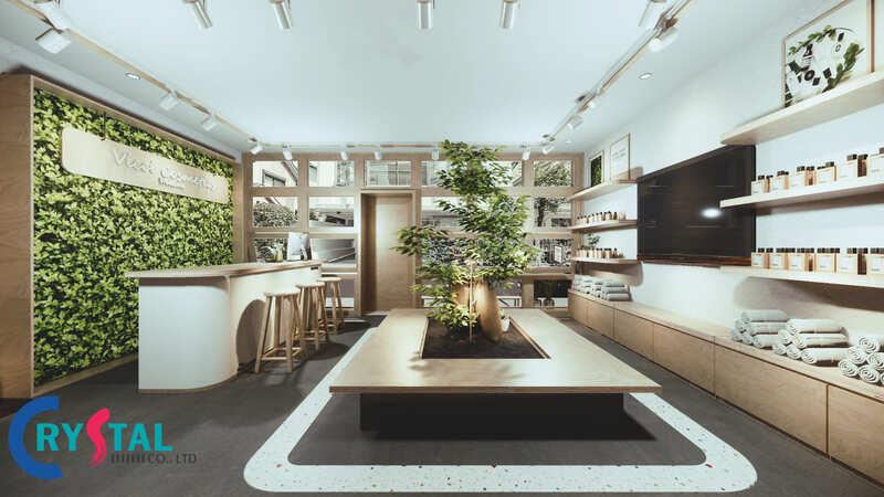 thiết kế cửa hàng mỹ phẩm đẹp - Crystal Design TPL
