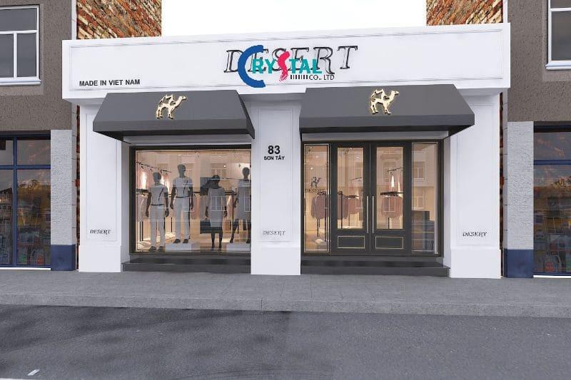 thiết kế cửa hàng quần áo nam - Crystal Design TPL