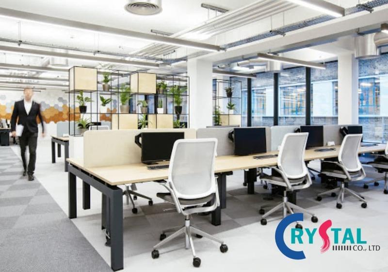 thiết kế không gian làm việc mở - Crystal Design TPL