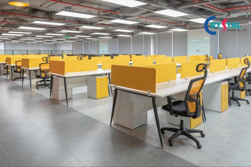thiết kế không gian văn phòng làm việc hiện đại - Crystal Design TPL