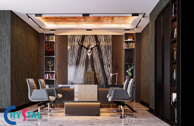 thiết kế nội thất phòng làm việc giám đốc - Crystal Design TPL