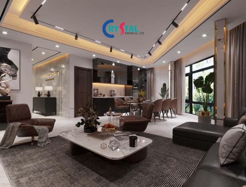 thiết kế nội thất showroom - Crystal Design TPL