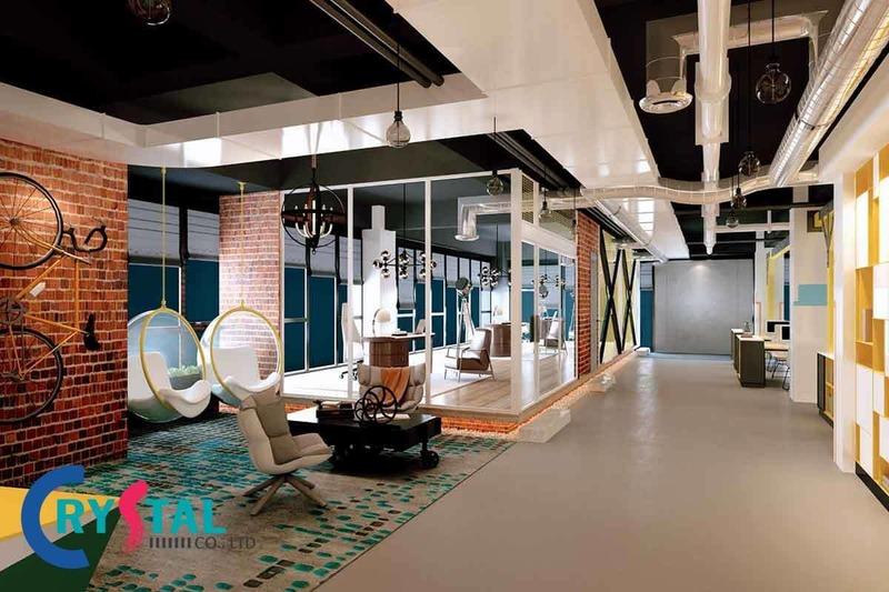 thiết kế nội thất văn phòng làm việc hiện đại - Crystal Design TPL