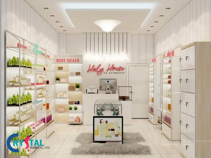 thiết kế shop mỹ phẩm hiện đại - Crystal Design TPL