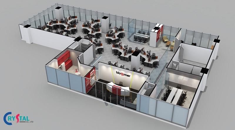 thiết kế thi công văn phòng - Crystal Design TPL