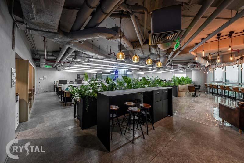thiết kế văn phòng 100m2 phong cách hiện đại