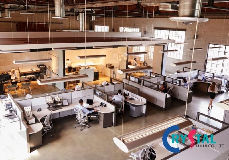 thiết kế văn phòng không gian mở - Crystal Design TPL
