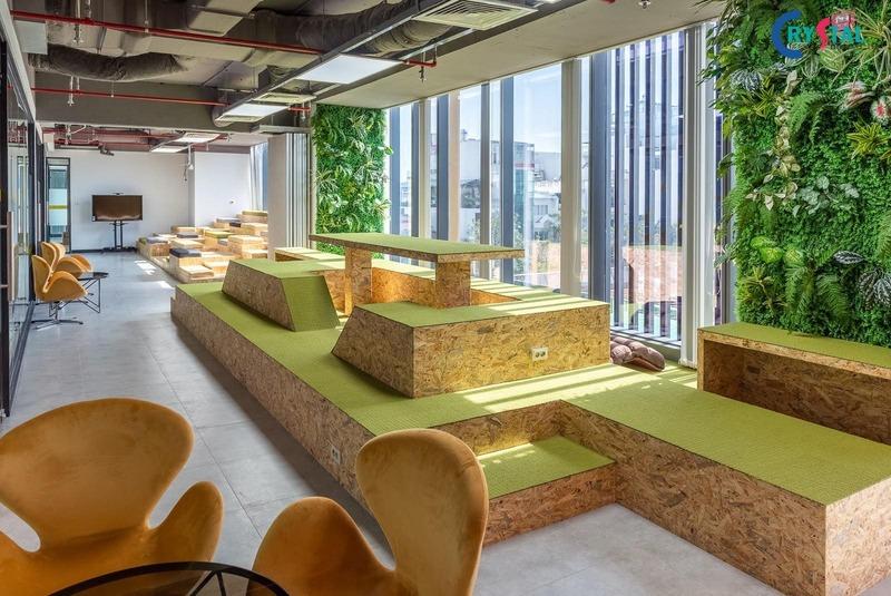 thiết kế văn phòng phong cách công nghiệp - Crystal Design TPL