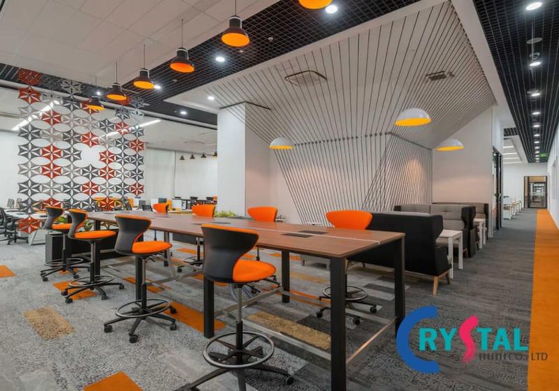 thiết kế văn phòng theo không gian mở - Crystal Design TPL