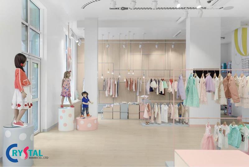 trang trí nội thất shop quần áo - Crystal Design TPL