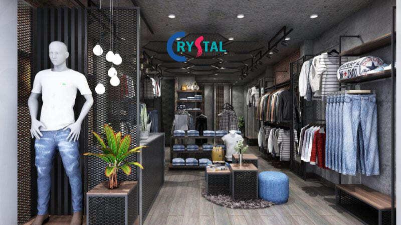 trang trí shop quần áo nam - Crystal Design TPL