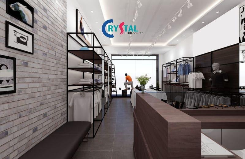 trang trí shop thời trang nam - Crystal Design TPL